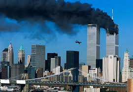 Twin towers on fire.
